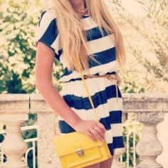 Love the stripes with the small yellow bag.