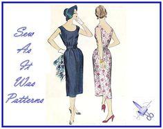 1950s Womens Sheath Scooped Neckline Dresses by SewAsItWasPatterns