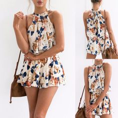 Women& Floral Print Two Piece Set Crop Top With Shorts Outfit Playsuit Romp.,Women& Floral Print Two Piece Set Crop Top With Shorts Outfit Playsuit Romper Source by carsicu. Cute Summer Outfits, Short Outfits, Casual Outfits, Cute Outfits, Fashion Outfits, Summer Dresses, Outfit Summer, Summer Shorts, 70s Fashion