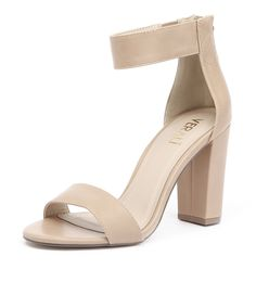 Essential for style! This sleek heel features a solid block heel, back zip and easy, elasticated ankle strap. Classic and versatile, team yours with anything from denim to dresses. Shop 'Carlo Nude' from Verali online at Styletread.