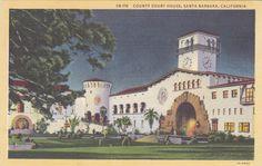 County Court House, Santa Barbara, CA - Vintage Linen Postcard - Unused (T)