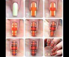 ~orange tartan nail art tutorial~