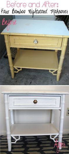 Faux Bamboo Nightstand makeover #diy #furniture #interiordesign