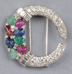 Art Deco Diamond and Gem-set Tutti Frutti Brooch | Sale Number 2510, Lot Number 757 | Skinner Auctioneers