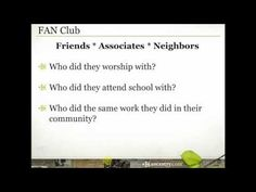"""FAN Club Research to Build Your Family Tree - Revered genealogist, Elizabeth Shown Mills, coined a phrase that explains a genealogy methodology we should all be familiar with - """"FAN Club."""" Join Crista Cowan for a look at how the study of your ancestors' Friends, Associates and Neighbors can help you learn more about your own family history."""
