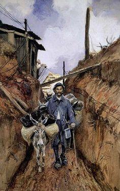 """Les Anes, Somme""  1916 by François Flameng (1856–1923)"