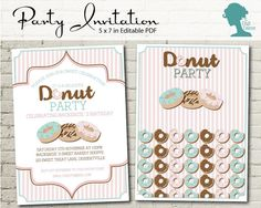 Digital Party Printable: Editable Pink & Mint Donut Party Invitation by The Digi Dame Etsy Shop $10AUD digidame.etsy.com