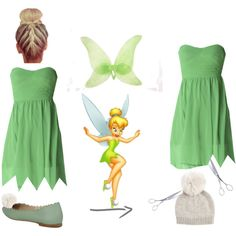 D.I.Y Tinkerbell Costume. by katie8756 on Polyvore featuring mode, AX Paris, Fendi and El Casco