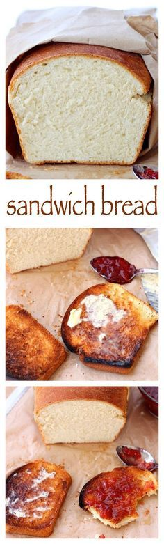 White sandwich bread – probably the simplest bread recipe, soft and fluffy, with a yellowish crumb and a chewy crust, this bread it perfect for Pb&J or any deli sandwiches and even for making French toast. (cake recipes with bread machine) Sandwich Bread Recipes, Easy Bread Recipes, Baking Recipes, White Bread Recipes, Simple Bread Recipe, White Bread Machine Recipes, Homemade Sandwich Bread, Cake Recipes, Dessert Recipes
