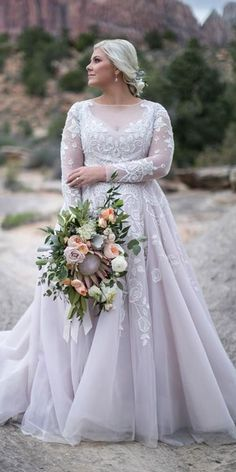 12 Dreamy Plus Size Wedding Dresses With Sleeves ❤ plus size wedding dresses w. 12 Dreamy Plus Size Wedding Dresses With Sleeves ❤ plus size wedding dresses with sleeves a line illusion neckline lace blush andi b bridal Plus Size Wedding Dresses With Sleeves, Dresses Elegant, Plus Size Wedding Gowns, Dress Plus Size, Formal Dresses For Weddings, Princess Wedding Dresses, Modest Wedding Dresses, Bridal Dresses, Plus Size Brides