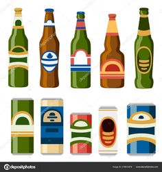 Drink Bottle Label Template Awesome Illustration Drinks Collection Beer Cans Bottles Template - Professional Templates Address Label Template, Label Templates, Make Your Own Labels, Beer Cans, Ready To Pop, Getting Drunk, Bottle Labels, Drink Bottles, Canning