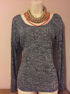 Ultra Flirt Gray Long Sleeve Sweater Vest Blouse Size Large  | eBay