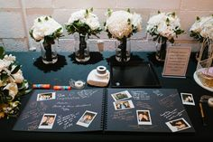 This is a fun idea for whatever wedding theme we choose. Polaroid guest book. Maybe we work in the photobooth and have guests stick one in the guest book.