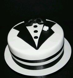 A chocolate biscuit cake with hand cut Tuxedo details to celebrate the union of George & Billy. Fondant Cakes, Cupcake Cakes, Buttercream Cake, Bachelor Party Cakes, Cake Design For Men, Chocolate Biscuit Cake, Tuxedo Cake, Dad Cake, Decoration Patisserie