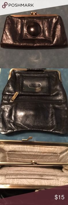 """Nice leather wallet Black leather Hobo International kisslock wallet with lots of space for bills, coins, ID, CC, 7-3/4""""W (at folded bottom) x 4""""H x 3/4""""D, only flaws are very slight wear on folded edges (see last 2 pics)...otherwise in EUC!!!! *There's a tote in my closet that matches this... HOBO Bags Wallets"""