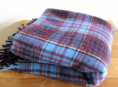 Pendleton Plaid Wool Blanket-Blue & Red by MarketHome on Etsy, $45.00