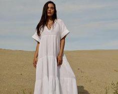 Vestido de lino de trabajo / maxi / lactancia amigable | Etsy