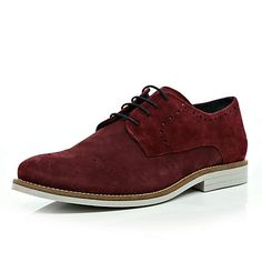 red suede brogues - brogues / loafers - shoes / boots - men - River Island