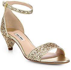 Miu Miu Jeweled Glitter Kitten-Heeled Sandals on shopstyle.com