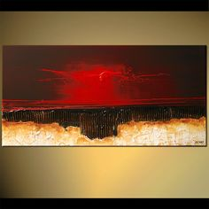 Original abstract art paintings by Osnat - modern abstract in red