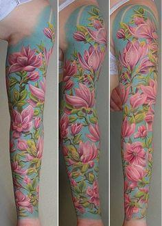 Magnolia full sleeve tattoo - 50  Magnolia Flower Tattoos  <3 !