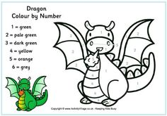 Dragon Color By Number Free Printable Coloring Page