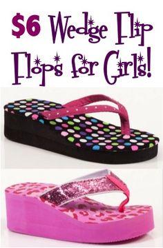 6.00 Wedge Flip Flops for Girls! ~ at TheFrugalGirls.com #flipflops