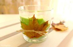 świecznik DIY-ozdobiony-liściem