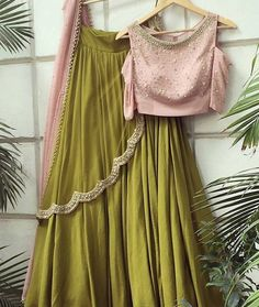 Olive Green And Pink Lehenga Online Shopping ,Indian Dresses - 1 Green Lehenga, Indian Lehenga, Lehenga Choli, Anarkali, Bridal Lehenga, Cotton Lehenga, Bridal Mehndi, Pakistani Dresses, Indian Dresses