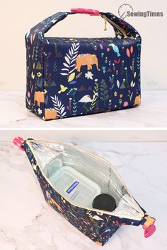 DIY INSULATED LUNCH BAG This lunch bag is perfect for carrying food & drinks to school, work, and day trips. This lunch tote features . Diy Sewing Projects, Sewing Tutorials, Sac Lunch, Diy Lunch Bags, Best Lunch Bags, Bag Patterns To Sew, Lunch Bag Patterns, Diy Bags Purses, Picnic Bag
