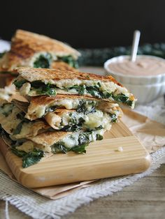 Smashed white bean and kale quesadillas with creamy BBQ dip by Runningtothekitchen, via Flickr
