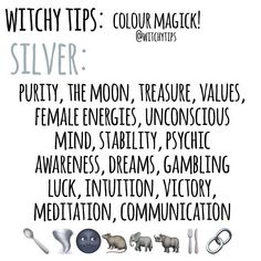 candle magick SILVER Use colour magick to help you pick candle colours, altar decor, clothing choices and more for spells and rituals to give it an extra boost! Here's some corresponde Wiccan Witch, Wicca Witchcraft, Magick, Paz Mental, Witchcraft For Beginners, Witch Board, Baby Witch, Eclectic Witch, Color Magic