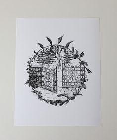 """Gate Hill"" art print by Sarah Getchell, via gatehillprints on Etsy. Pen and ink."