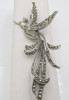 Sterling Silver and Marcasite Bird of Paradise Brooch Pin