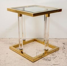 Lucite and Brass Side Table in the style of Charles Hollis Jones
