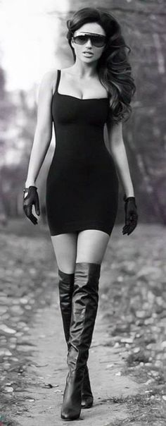 fashion sunglasses black sunglasses dress spaghetti strap black dress short dress gloves leather gloves leather thigh high boots fashion curly hair date dress aviator sunglasses glasses top crop tops bustier dress high heels high heels boots stiletto nails stilettos
