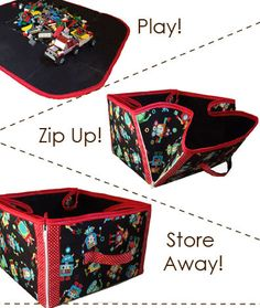 Play, Zip, and Store Convertible Tote – PDF Sewing Pattern + Sewing Binding Better - Free Tutorial #sewing Perfect for sewing stuff too