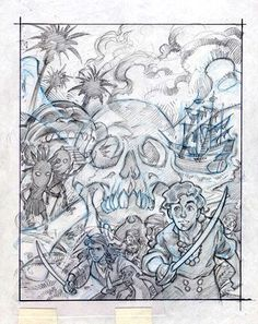 """Concept art for """"The Secret of Monkey Island"""" from LucasArts (1990, DOS PCs). This picture eventually became the box cover."""