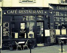 Paris Photography, Paris Cafe and restaurant, Kitchen Wall Art,  Paris Home Decor, Latin Quarter, Black and white