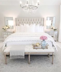 Decor bedroom inspo, classy bedroom decor, master bedroom design, home deco Glam Bedroom, Home Decor Bedroom, Modern Bedroom, Bedroom Bed, French Bedroom Decor, French Master Bedroom, Bedroom Benches, French Bedrooms, Bedroom Romantic