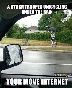 Images of the day, 65 images. A Stormtrooper Unicycling Under The Rain