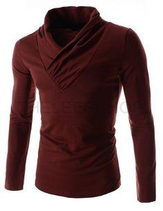 (DK16-WINE) Mens Slim Fit Shawl Collar Dress Style Basic Long Sleeve Cotton Tshirts