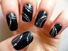 modern white and black nail art 2016