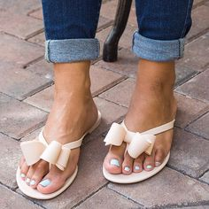 Nude Bow Jelly Sandals