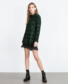 With the same Check Shirt now match with a Casual Denim Skirt *take note of sufficient length for skirt and top, match with black boots or chunky heels ZARA - WOMAN - OVERSIZE CHECK SHIRT
