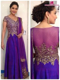 Madhuri Dixit Nene In Manish Malhotra https://www.facebook.com/pages/Manish-Malhotra/147482601960327 Anarkali at Comedy Night With Kapil Dec, 13