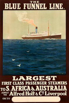 'The Blue Funnel Line vintage travel poster' Poster von stickart-marek Jack Kerouac, Vintage Travel Posters, Steamer, Liverpool, Line, South Africa, Ship, Australia, Adventure
