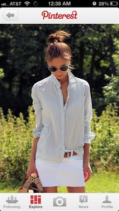 I want this outfit. Oversized button up Oxford. White mini skirt  jean denim
