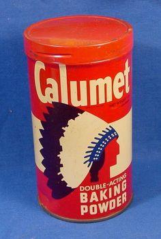 Vintage Calumet Baking Powder 1 pound Tin w/Twist On Top