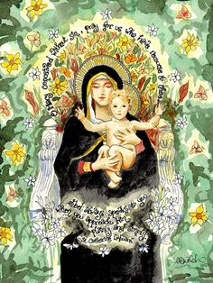 Our Lady of the Lilies Watercolor Catholic Art by DovetailInk